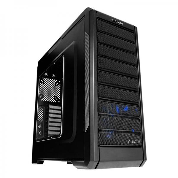 Circle Stealth Atx Mid Tower Cabinet With Transpa Side Panel Black