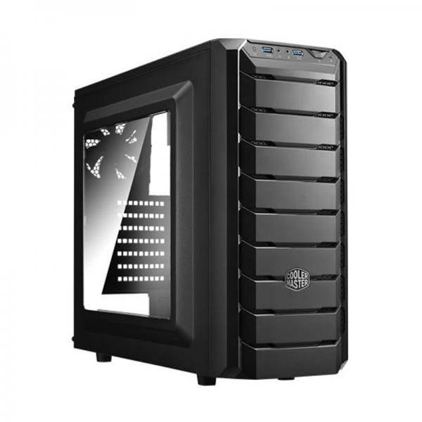COOLER MASTER CMP 500 With SMPS (ATX) Mid Tower Cabinet - With Transparent Side Panel (Black)