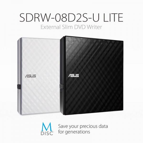 ASUS SDRW-08D2S-U LITE Portable Slim External DVD Writer With M-DISC Support