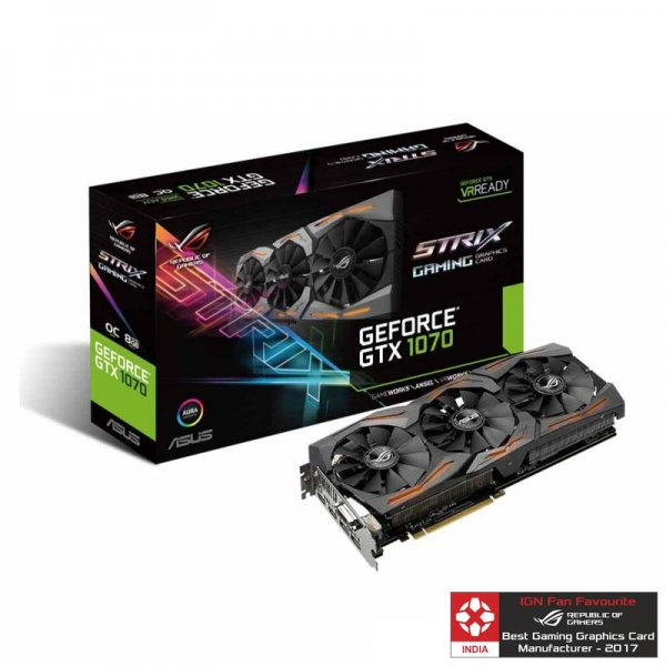 ASUS GRAPHICS CARD PASCAL SERIES - GTX 1070 8GB GDDR5 ROG STRIX GAMING OC EDITION