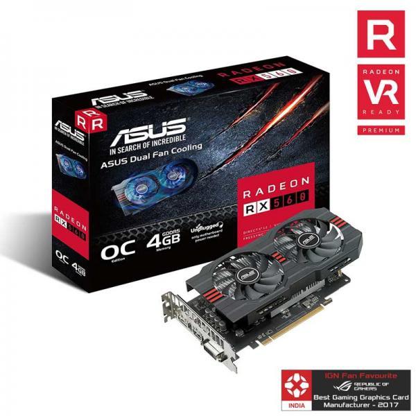 Asus Radeon RX 560 4GB GDDR5 OC Edition 128-Bit Gaming Graphics Card