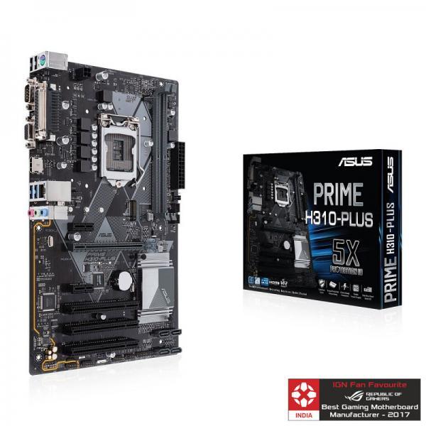 ASUS PRIME H310-PLUS Motherboard (Intel Socket 1151/8th Generation Core  Series CPU/Max 32GB DDR4-2666Mhz Memory)