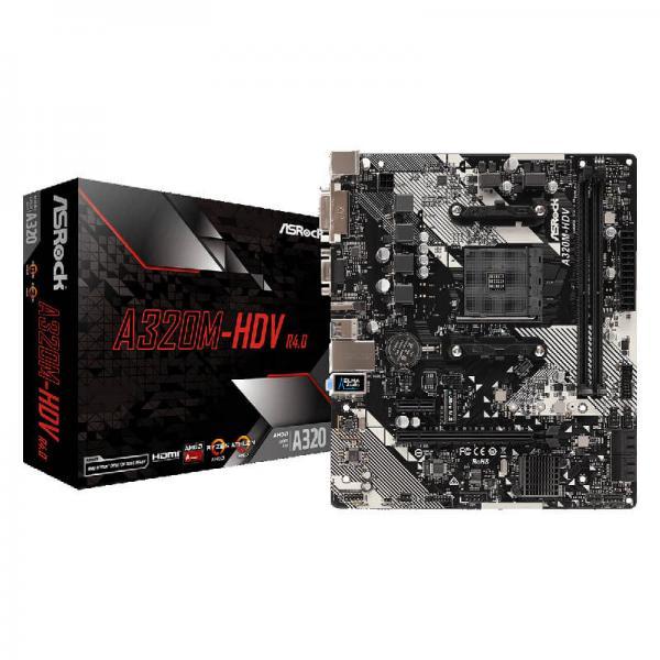 ASRock A320M HDV Motherboard (AMD Socket AM4/Ryzen Series CPU/Max 32GB DDR4  3200MHz Memory)