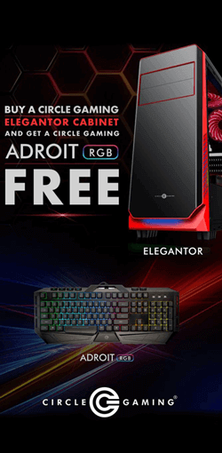 Buy Circle Gaming Elegantor Cabinet & Get Circle Adroit RGB Gaming Keyboard Free.