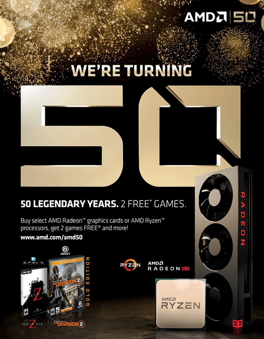 AMD 50 th Legendary Years - 2 Free Games