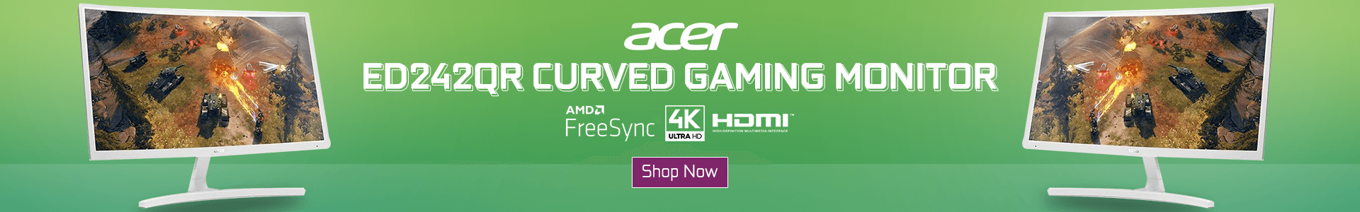 Acer ED242QR Curved Gaming Monitor (White)