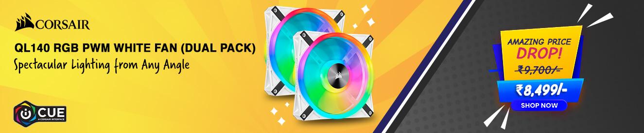 Corsair ICUE QL140 RGB White Cabinet Fan (Dual Pack)