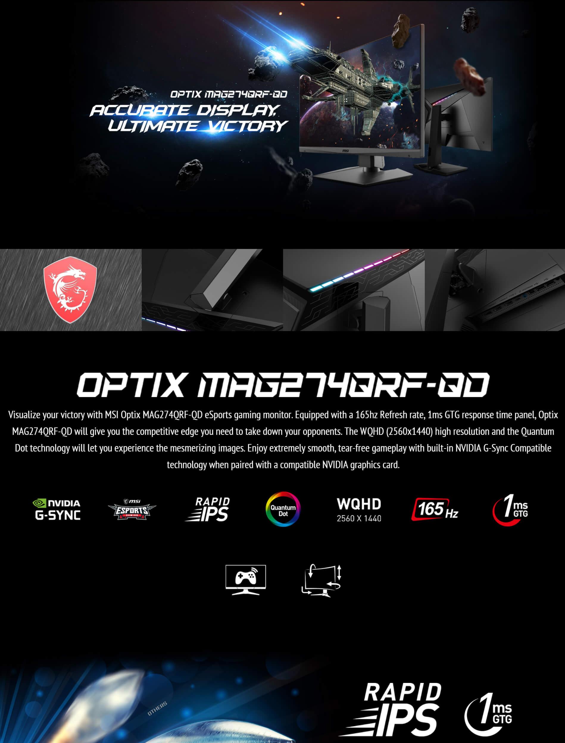 Buy Online - MSI Optix MAG274QRF-QD | 2K 165Hz Gaming Monitor